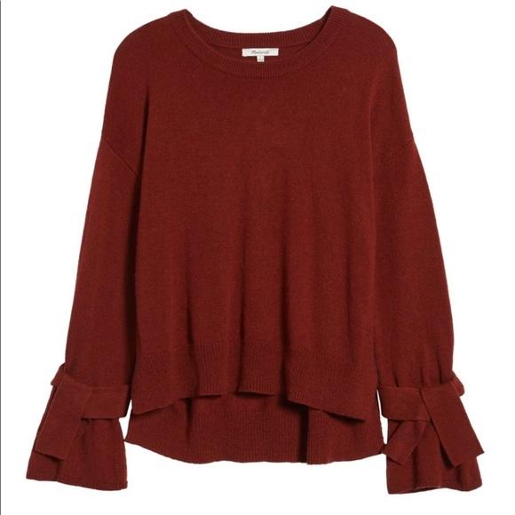 Madewell Tie Cuff Pullover Sweater burgundy